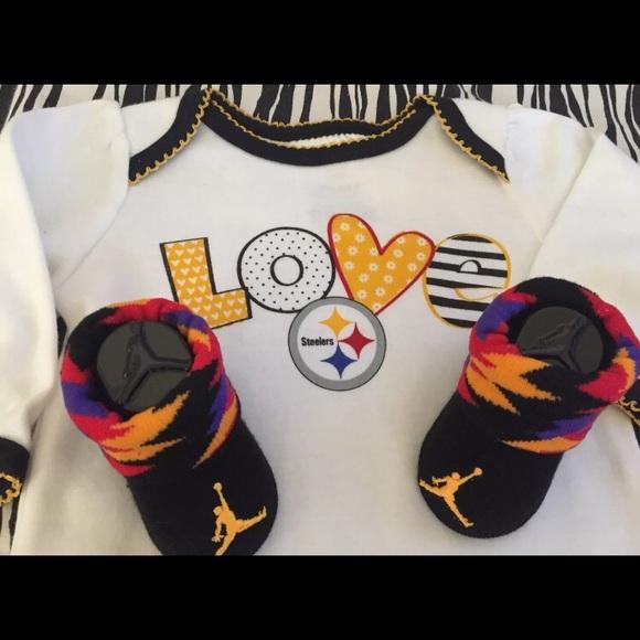 33023e21019 Jordan Shoes   Nike Air Baby Booties 06m Steelers Onesie   Poshmark